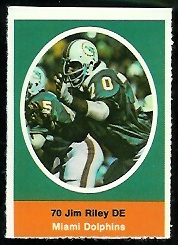 Jim Riley 1972 Sunoco Stamps football card
