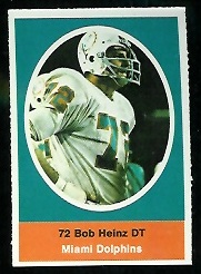 Bob Heinz 1972 Sunoco Stamps football card