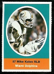 Mike Kolen 1972 Sunoco Stamps football card