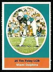Tim Foley 1972 Sunoco Stamps football card