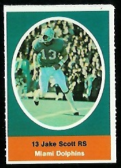Jake Scott 1972 Sunoco Stamps football card