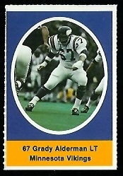 Grady Alderman 1972 Sunoco Stamps football card