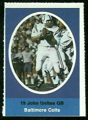 John Unitas 1972 Sunoco Stamps football card