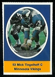 Mick Tingelhoff 1972 Sunoco Stamps football card