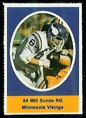 Milt Sunde 1972 Sunoco Stamps football card