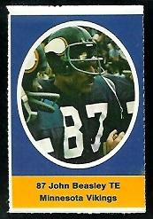 John Beasley 1972 Sunoco Stamps football card