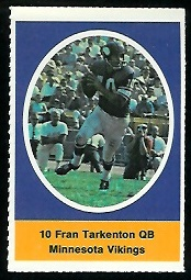 Fran Tarkenton 1972 Sunoco Stamps football card