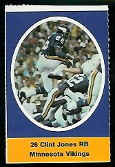 Clint Jones 1972 Sunoco Stamps football card