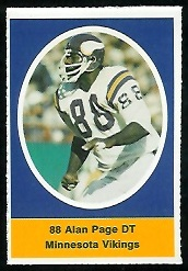 Alan Page 1972 Sunoco Stamps football card