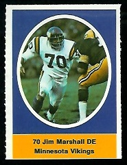 Jim Marshall 1972 Sunoco Stamps football card