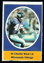 Charlie West 1972 Sunoco Stamps football card