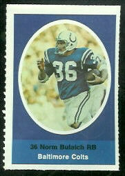 Norm Bulaich 1972 Sunoco Stamps football card