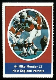 Mike Montler 1972 Sunoco Stamps football card