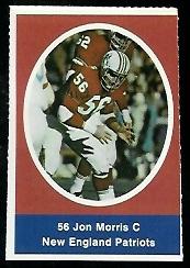 Jon Morris 1972 Sunoco Stamps football card