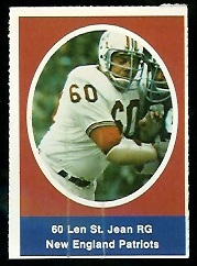 Len St. Jean 1972 Sunoco Stamps football card