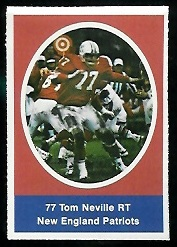 Tom Neville 1972 Sunoco Stamps football card