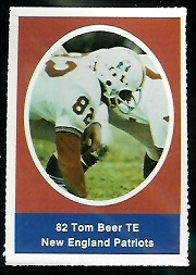 Tom Beer 1972 Sunoco Stamps football card