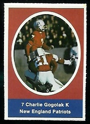 Charlie Gogolak 1972 Sunoco Stamps football card