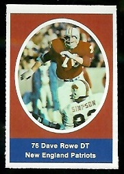 Dave Rowe 1972 Sunoco Stamps football card