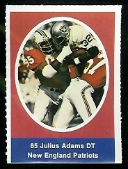 Julius Adams 1972 Sunoco Stamps football card