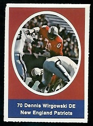 Dennis Wirgowski 1972 Sunoco Stamps football card