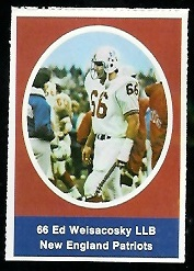 Ed Weisacosky 1972 Sunoco Stamps football card