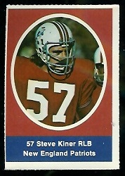 Steve Kiner 1972 Sunoco Stamps football card
