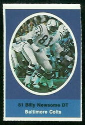 Billy Newsome 1972 Sunoco Stamps football card