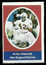 Don Webb 1972 Sunoco Stamps football card