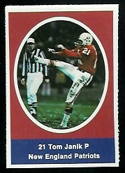 Tom Janik 1972 Sunoco Stamps football card
