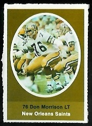Don Morrison 1972 Sunoco Stamps football card