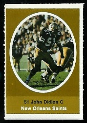 John Didion 1972 Sunoco Stamps football card