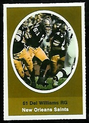 Del Williams 1972 Sunoco Stamps football card