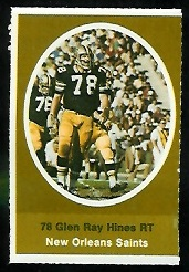 Glen Ray Hines 1972 Sunoco Stamps football card