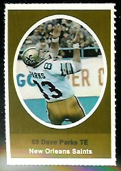 Dave Parks 1972 Sunoco Stamps football card