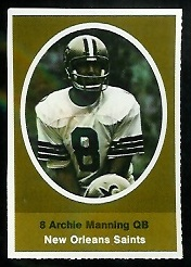 Archie Manning 1972 Sunoco Stamps football card