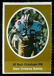 Bob Gresham 1972 Sunoco Stamps football card