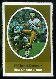 Charlie Durkee 1972 Sunoco Stamps football card