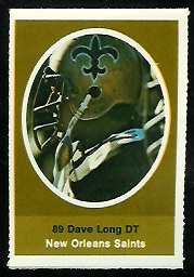 Dave Long 1972 Sunoco Stamps football card