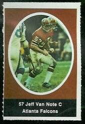 Jeff Van Note 1972 Sunoco Stamps football card