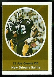 Joe Owens 1972 Sunoco Stamps football card