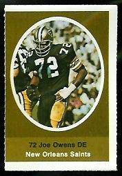 Joe Owens 1972 Sunoco Stamps football card