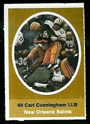 Carl Cunningham 1972 Sunoco Stamps football card