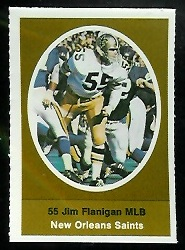 Jim Flanigan 1972 Sunoco Stamps football card