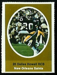 Delles Howell 1972 Sunoco Stamps football card