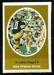 Julian Fagan 1972 Sunoco Stamps football card