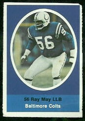 Ray May 1972 Sunoco Stamps football card