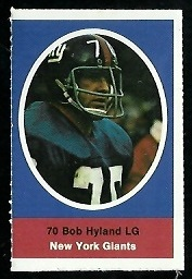 Bob Hyland 1972 Sunoco Stamps football card