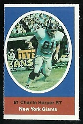 Charlie Harper 1972 Sunoco Stamps football card