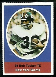 Bob Tucker 1972 Sunoco Stamps football card